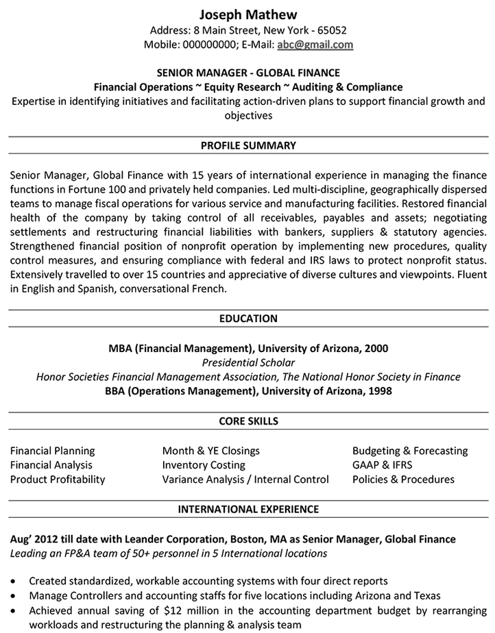 Accountant CV Format \u2013 Accountant Resume Sample and Template - International Experience Resume