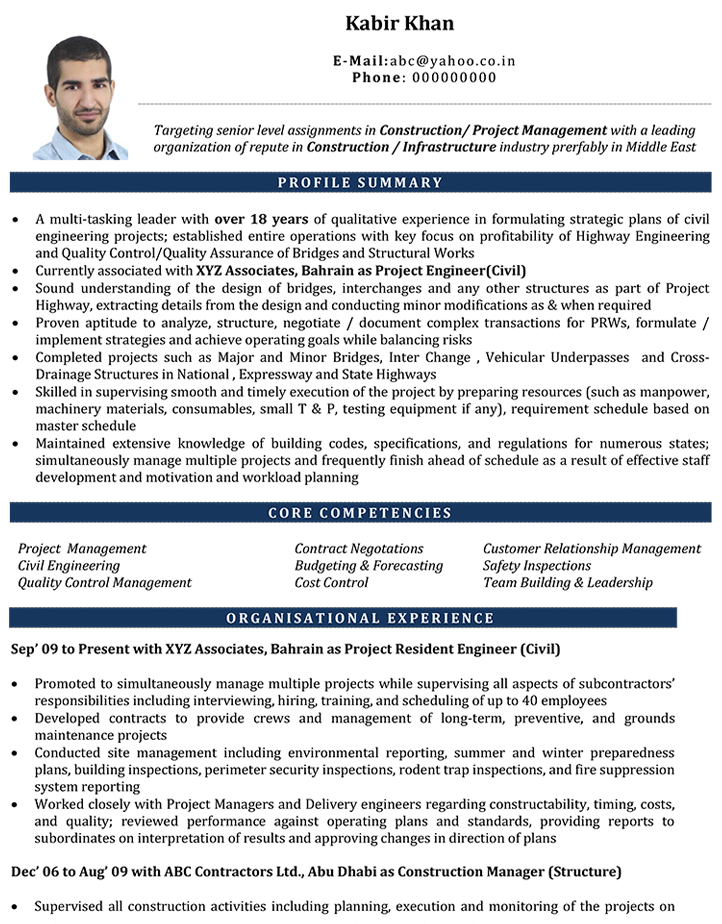 Civil Engineer CV Format \u2013 Civil Engineer Resume Sample and Template - Engineering Cv