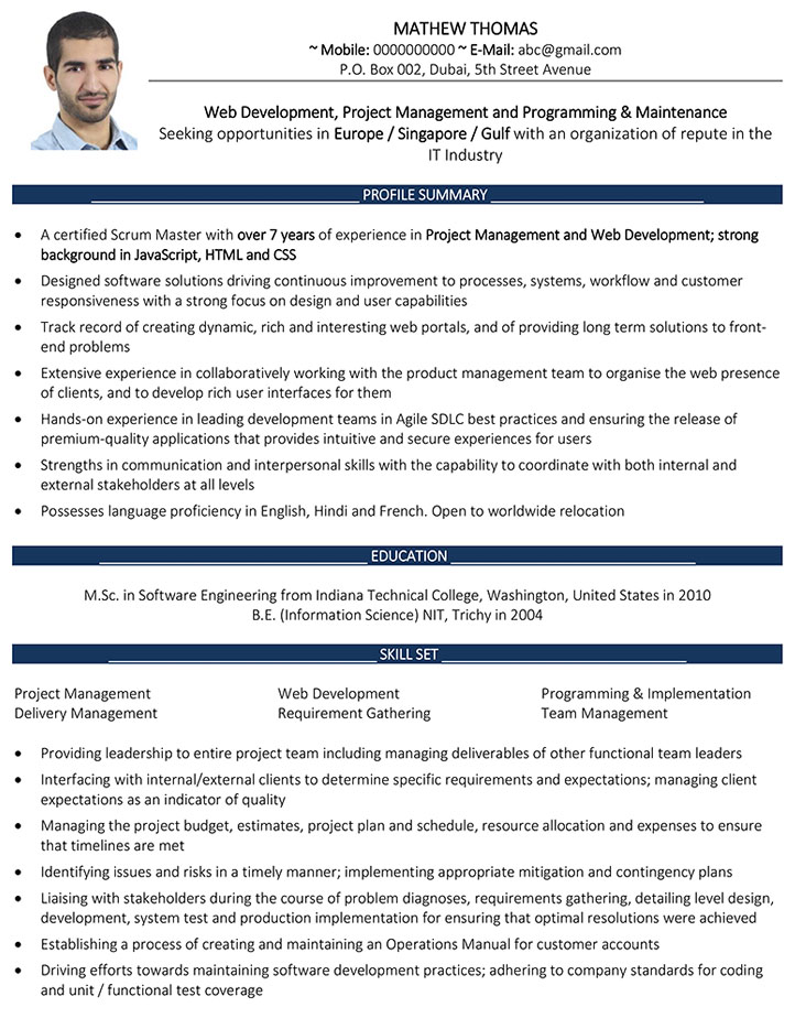 Web Developer CV Format \u2013 Web Developer Resume Sample and Template - Web Development Resume