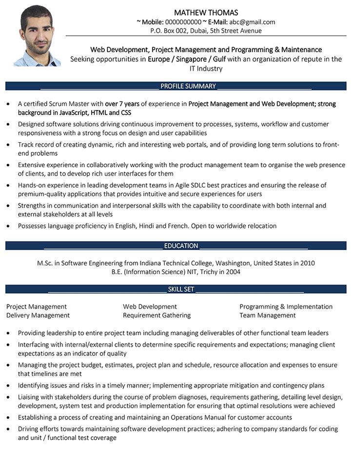 resume for dubai jobs