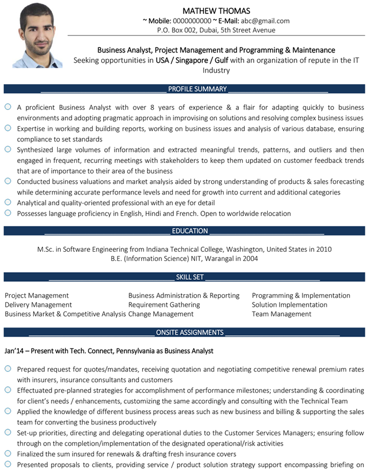 Business Analyst CV Format \u2013 Business Analyst Resume Sample and Template