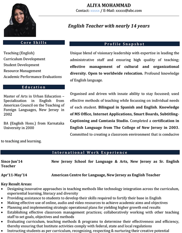 English Teacher CV Format \u2013 English Teacher Resume Sample and Template