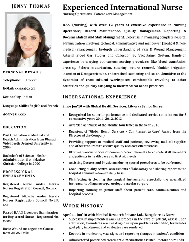 Nurse CV Format \u2013 Nurse Resume Sample and Template - International Experience Resume