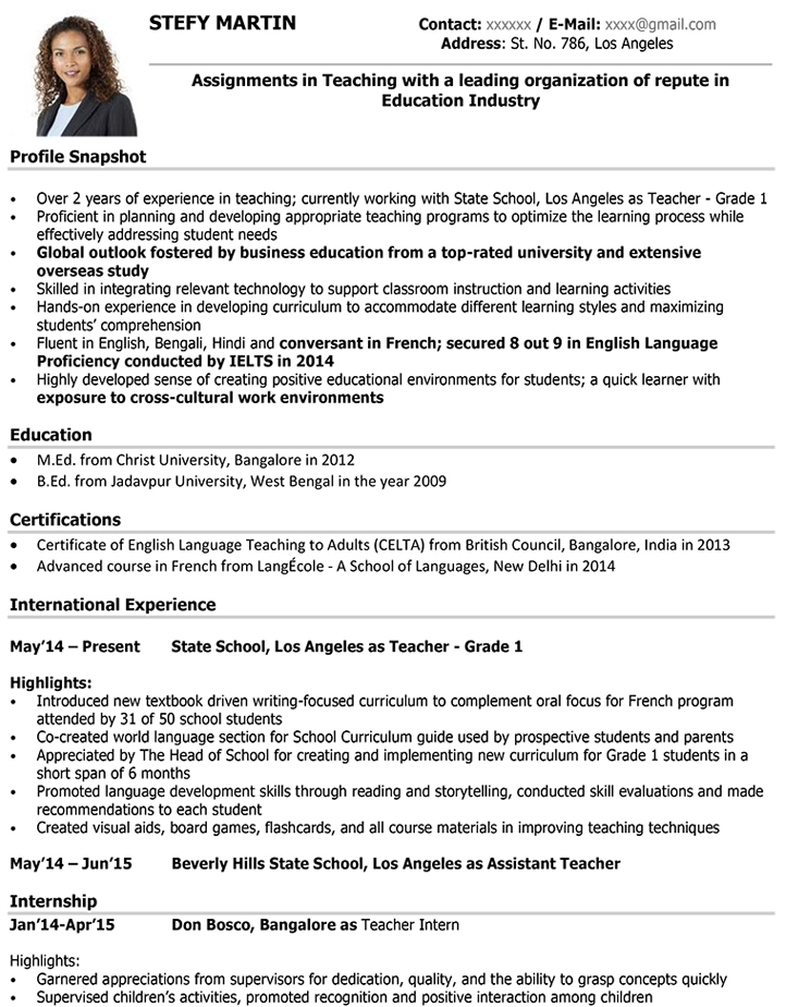 Teacher CV Format \u2013 Teacher Resume Sample and Template - Samples Of Cv Format