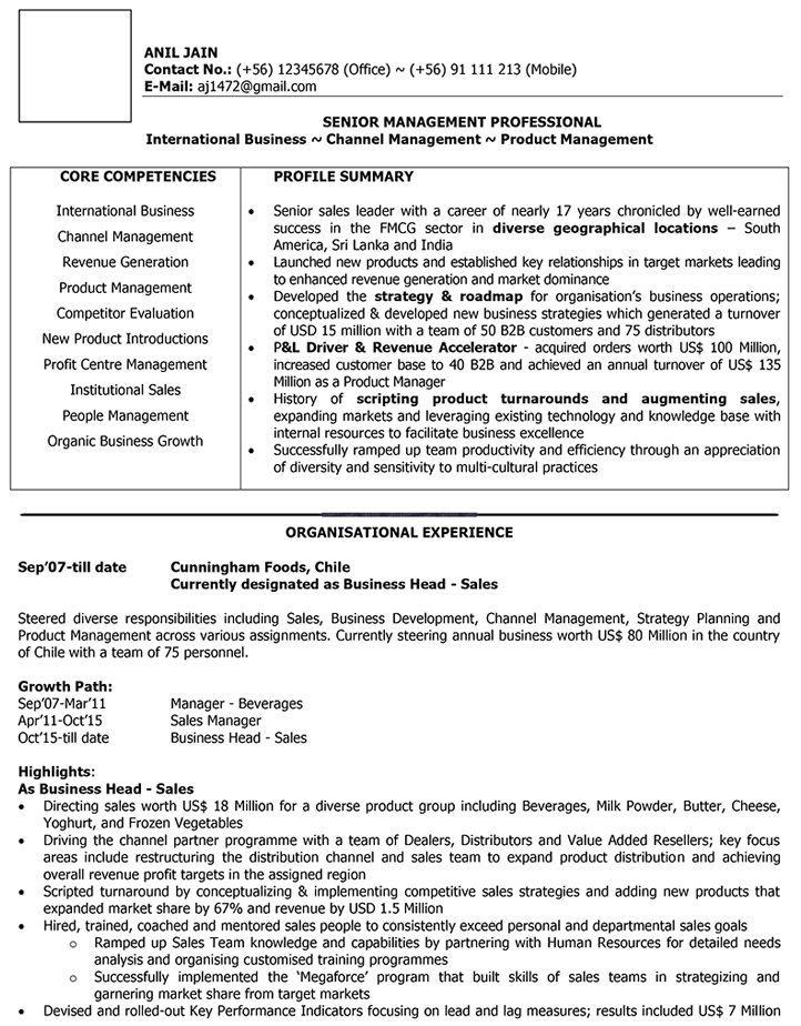 International Sales CV Format \u2013 International Sales Resume Sample - sample resume sales and marketing