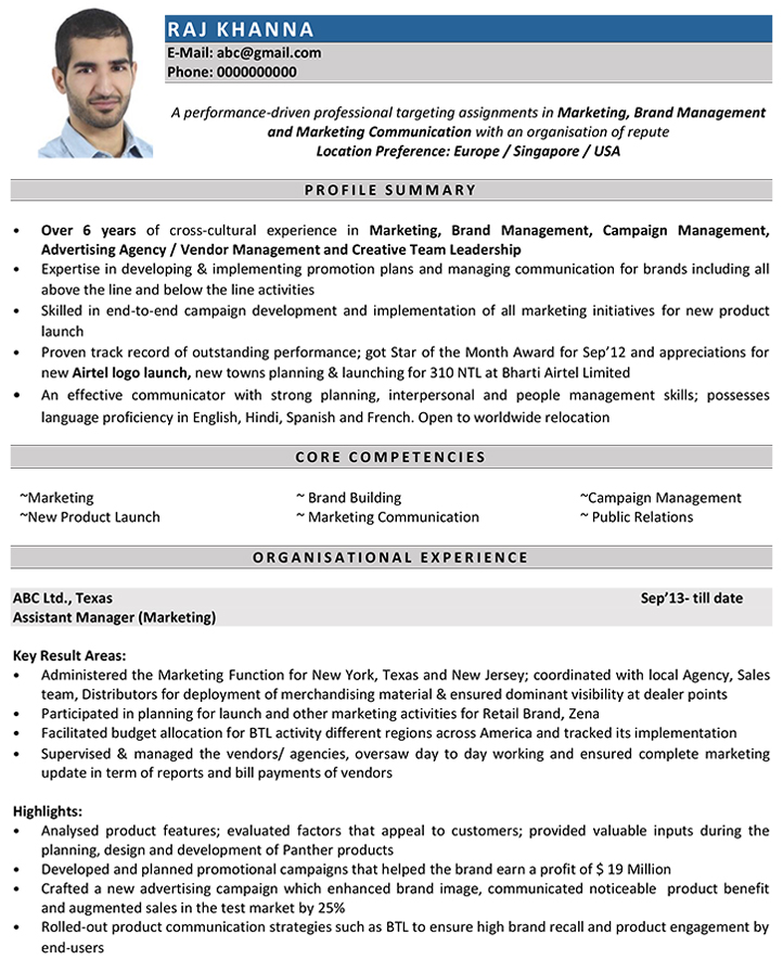 marketing manager cv english