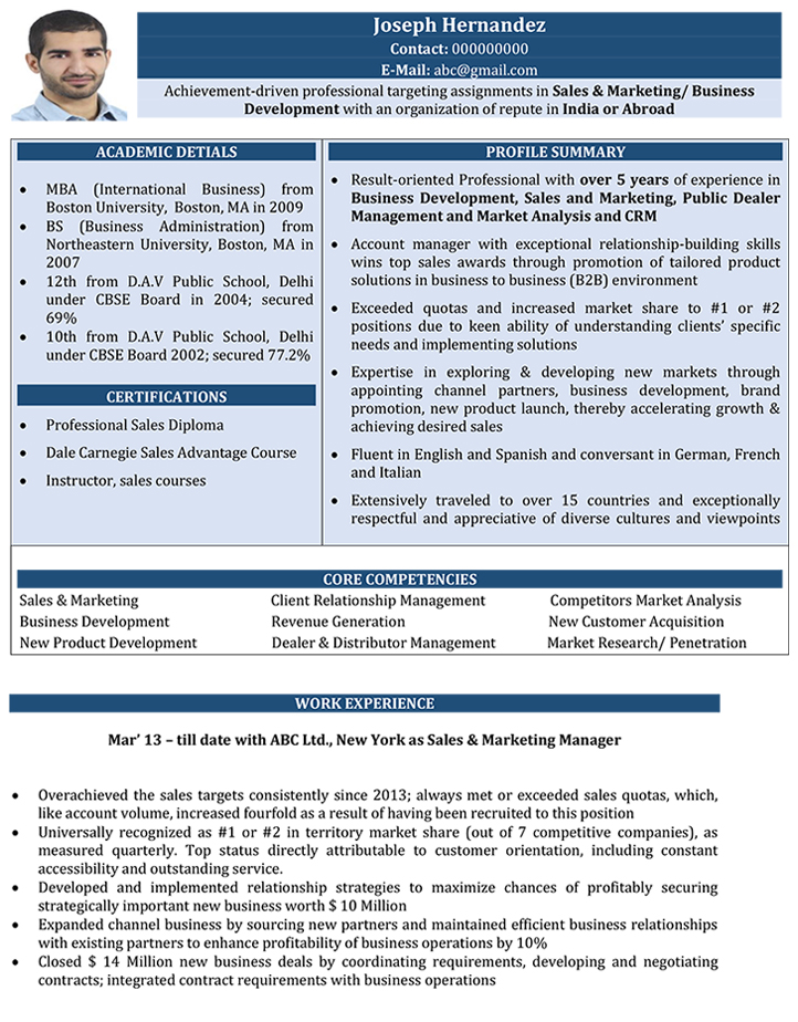 Sales And Marketing CV Format \u2013 Sales And Marketing Resume Sample - sample resume sales and marketing