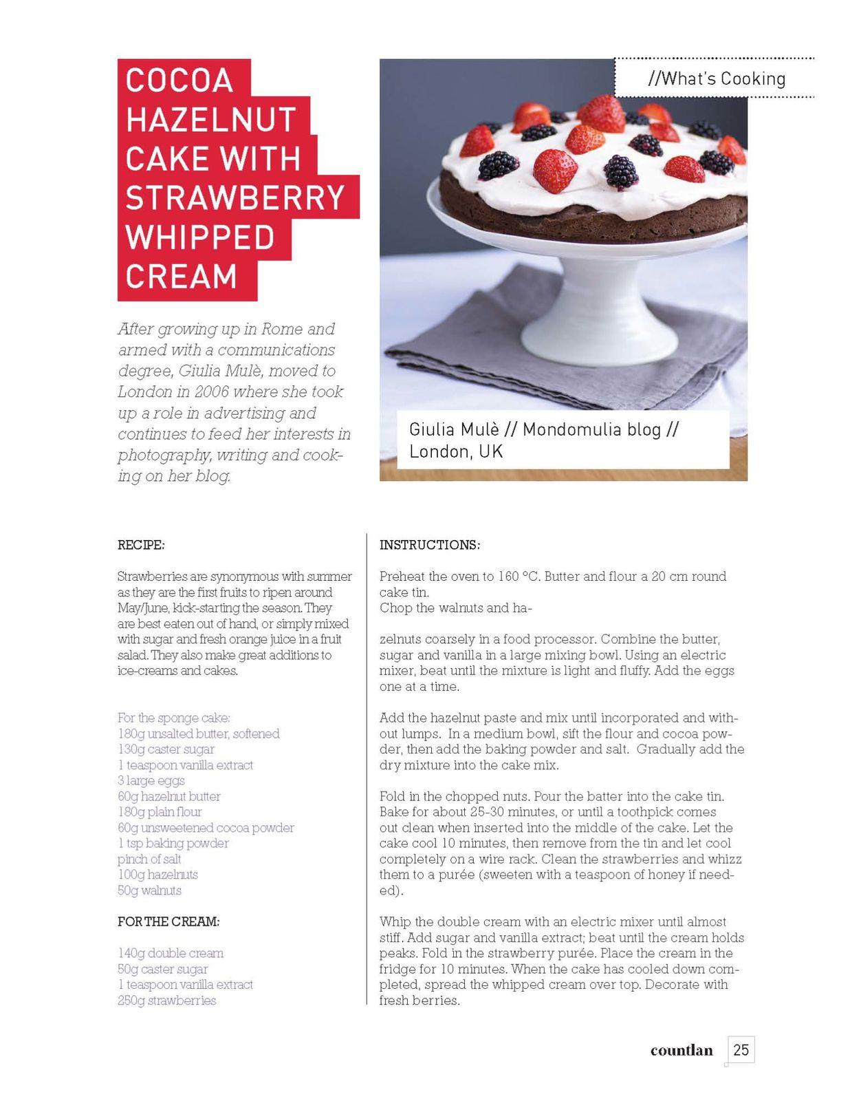 Cocoa Hazelnut Cake with Strawberry Cream