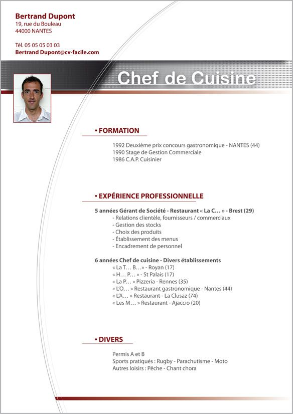 exemple cv cuisinier international