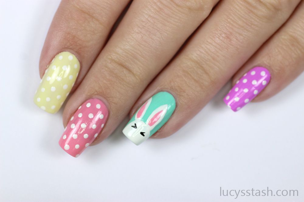 Easter Bunny Polka Dots Nails Advanced Tutorial Lucy