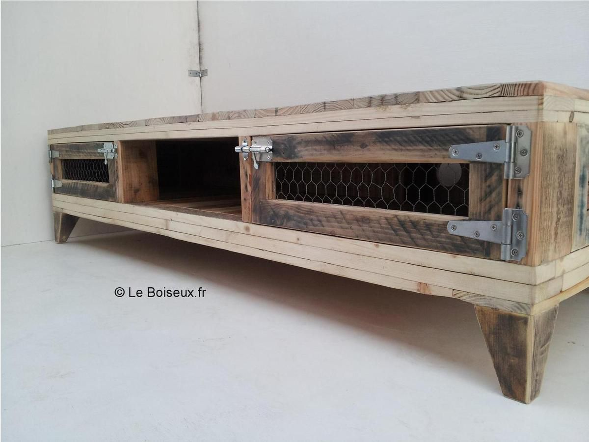 Meuble Tv Artisanal Portes De Meubles Grillages Recyclés Tables De