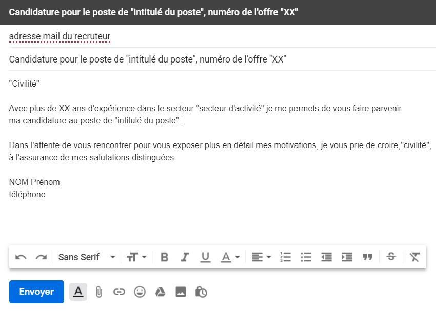 comment faire pour envoyer un cv par mail