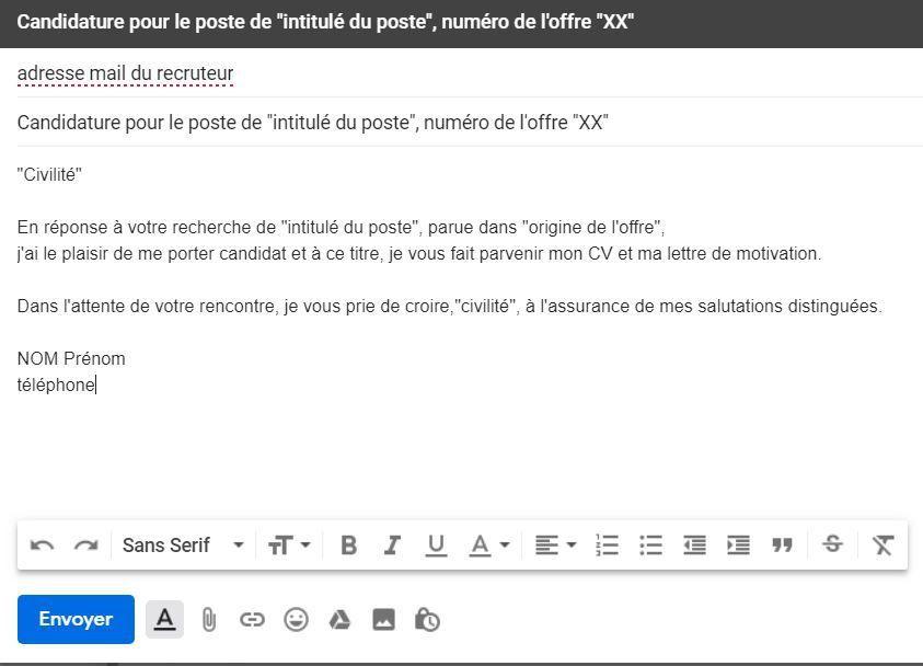 envoie cv lettre motivation mail