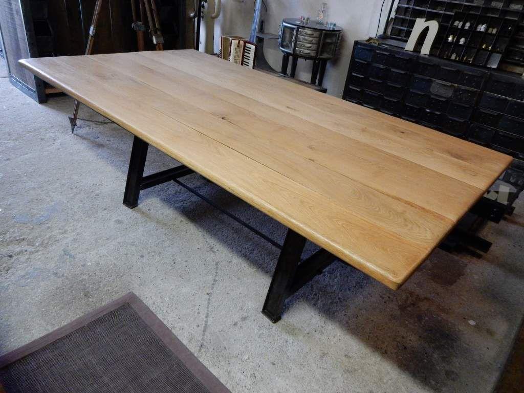 Table pied acier plateau bois table bois pied noir - Table plateau bois pied metal ...