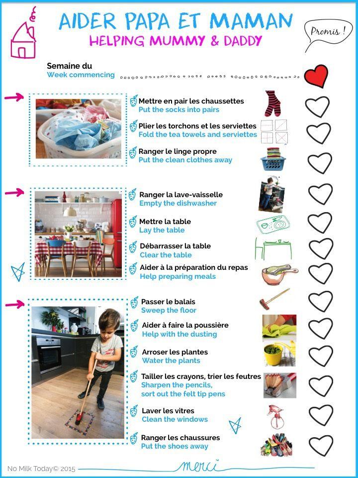 les tâches ménagères avec votre enfant de No Milk Today - THE WORLD - les taches menageres
