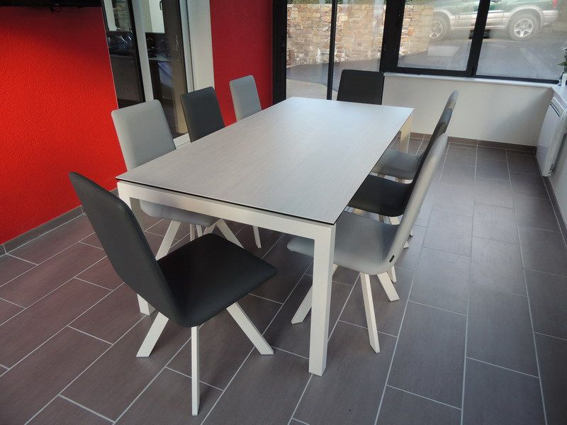 6 Chaises Grises Table Ceramique Julia - Exodia Home Design Tables