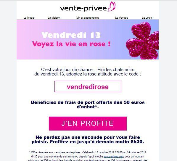 Emailing  Le bon exemple emailing de la part de vente privée