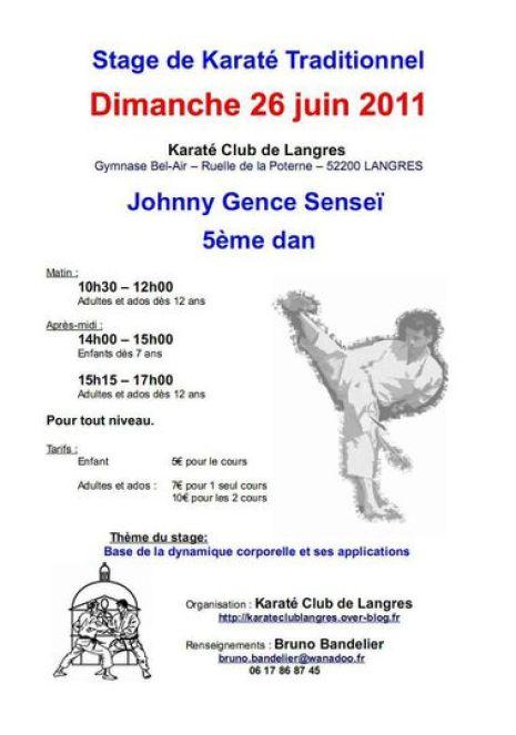 Affiche Stage Johnny Gence 26-06-2011 LANGRES