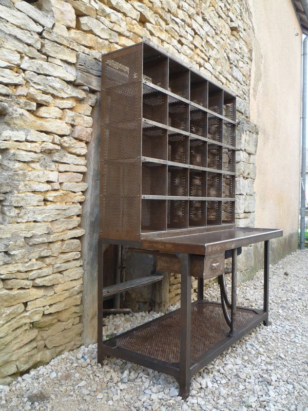 Meuble Classeur Bureau Bureau Casier Tri Postal 125, 25 Cases Rouille 1950