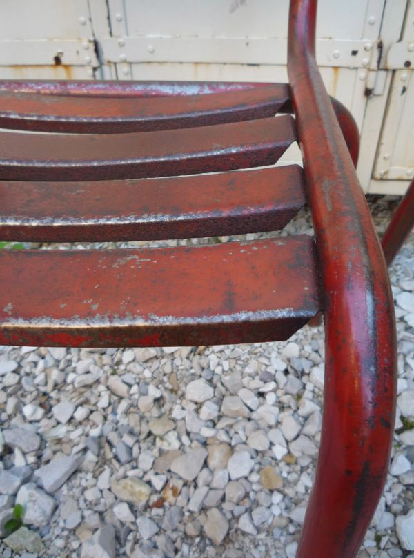 Chaises Multipl's 2 Chaises Metal Lattes Bistrot Terrasse Rouges Vers 1950
