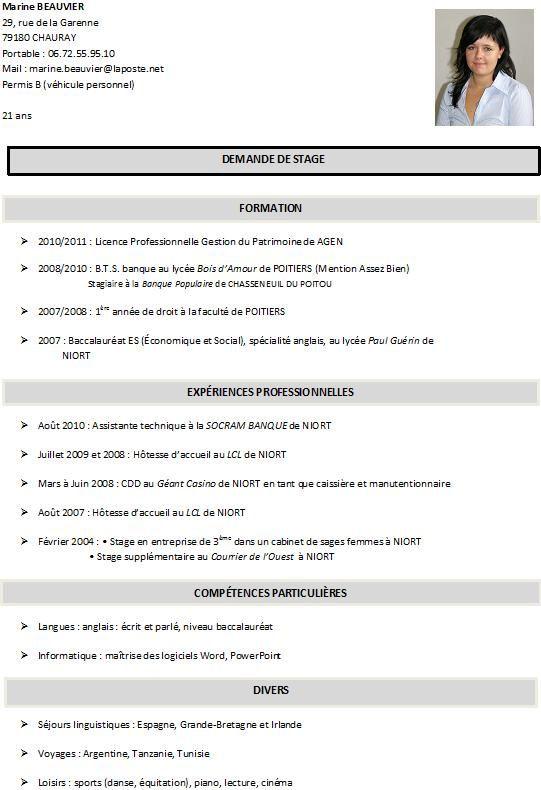 cv pour inscription licence examples