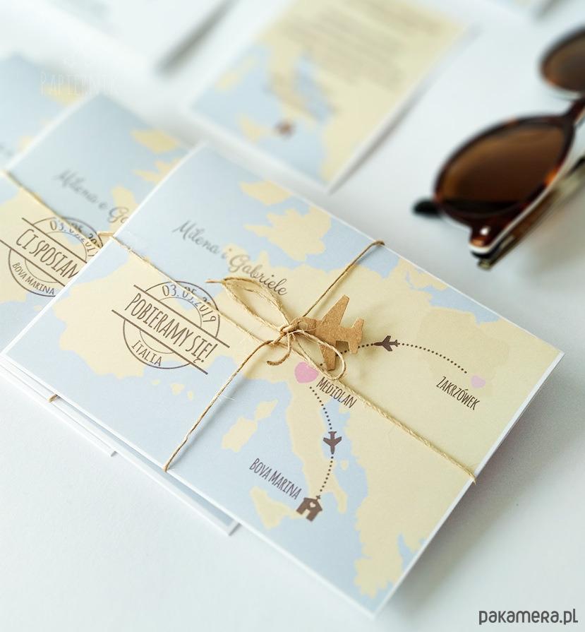 Zaproszenia ślubne z mapą - Ślub - zaproszenia, kartki - Pakamerapl