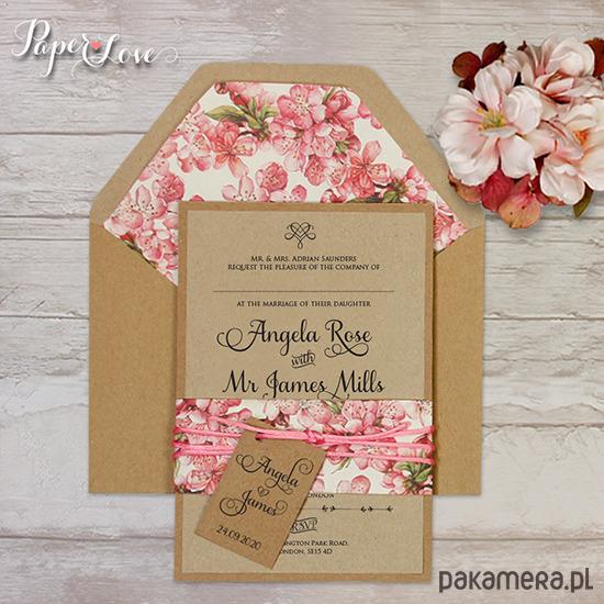 Zaproszenia ślubne rustykalne kwiaty - Ślub - zaproszenia, kartki