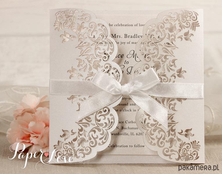 Zaproszenia ślubne koronki kwiatowe - Ślub - zaproszenia, kartki