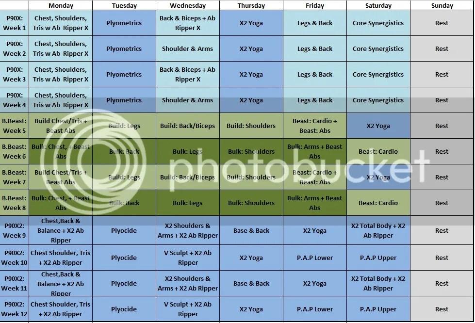 Team Beachbody - Hybrid Workouts (BodyBeast P90X P90X2 T25 - beast workout sheet