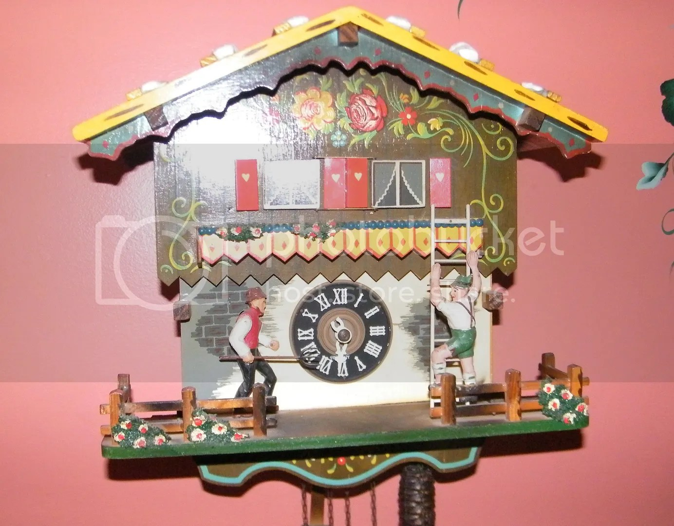 Koo Coo Clock Antique Old Farmers Daughter Chalet German Musical