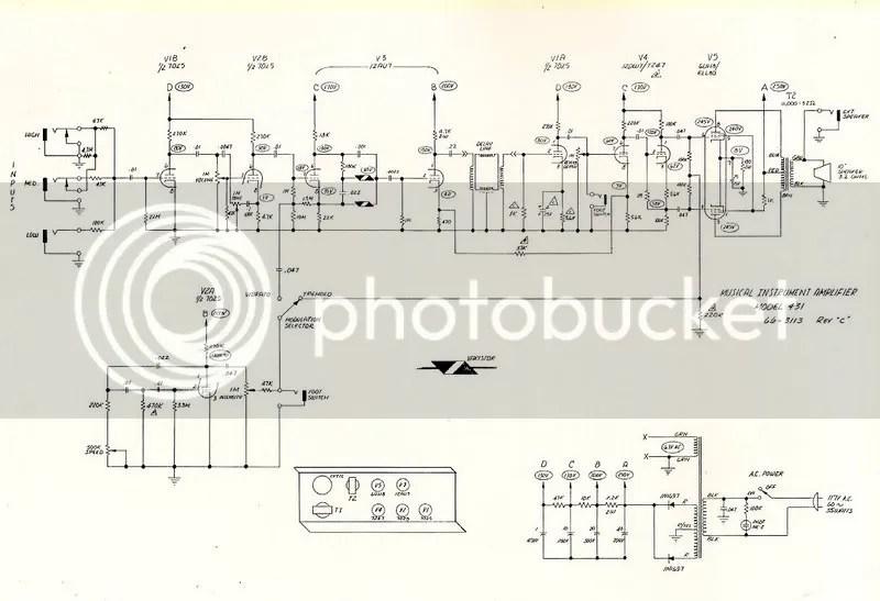 Vintage Magnatone Amplifier Schematic Wiring Diagram