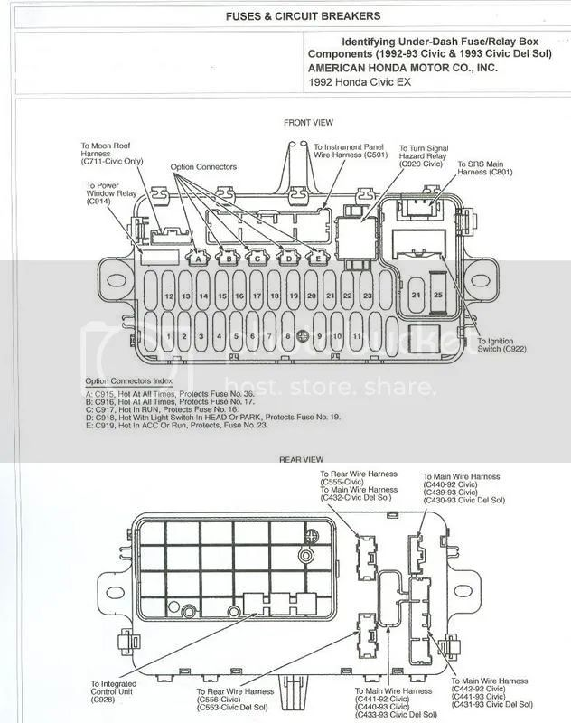 eg civic under dash fuse box diagram