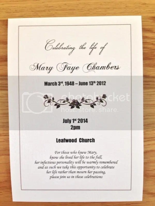 50 x Personalised Funeral Announcement \/ Invitation cards A6 eBay - invitation for funeral