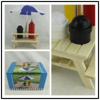 Outdoor Picnic Bench Condiment Set , Umbrella Salt Picnic ...
