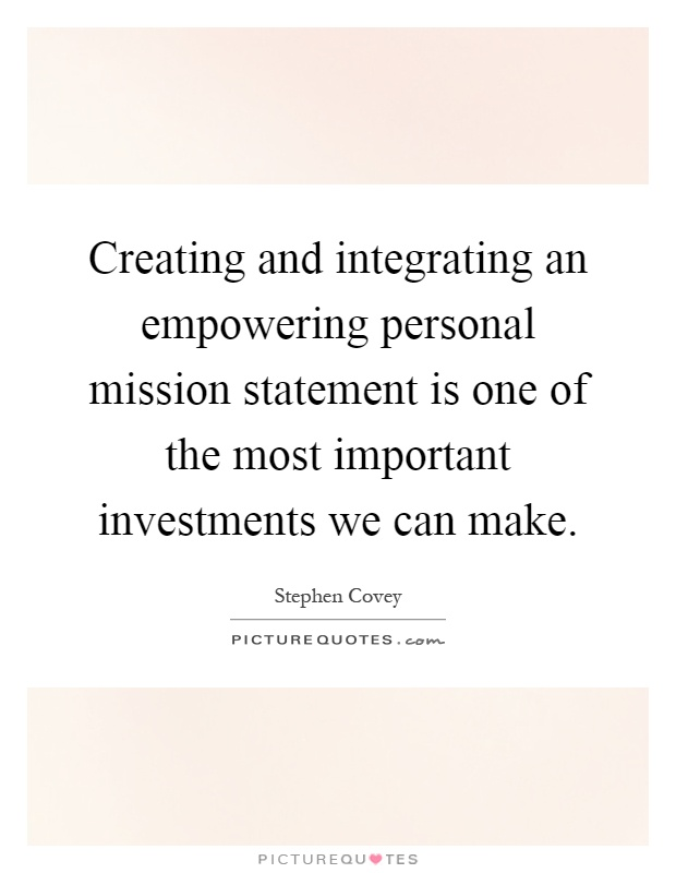Creating and integrating an empowering personal mission Picture