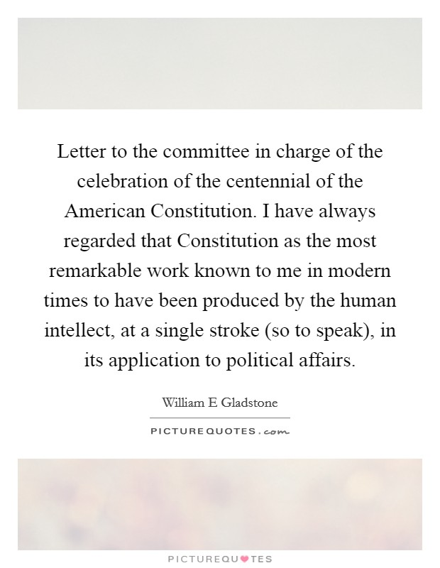 Letter to the committee in charge of the celebration of the
