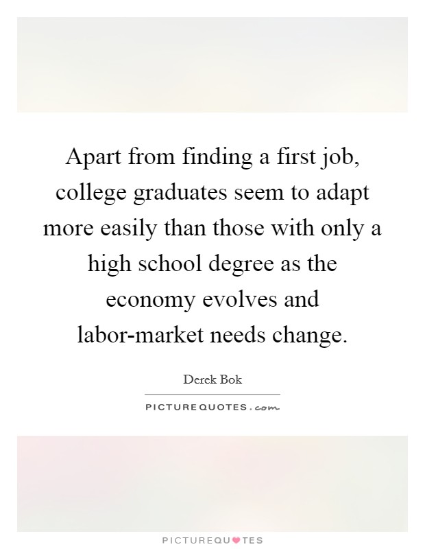 Apart from finding a first job, college graduates seem to adapt