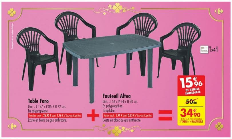 Ensemble Table Chaise Pas Cher Carrefour : Ensemble De Jardin 1 Table + 4 Fauteuils à 34,90