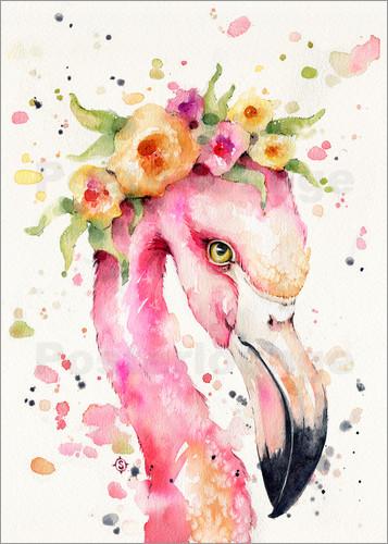 Animal Bedroom Wallpaper Sillier Than Sally Little Flamingo Poster Posterlounge