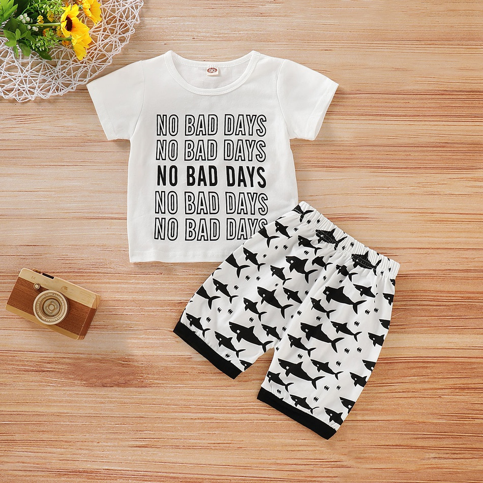 Bad Set For Baby Toddler Baby Toddler No Bad Days Print Tee And Shark Patterned