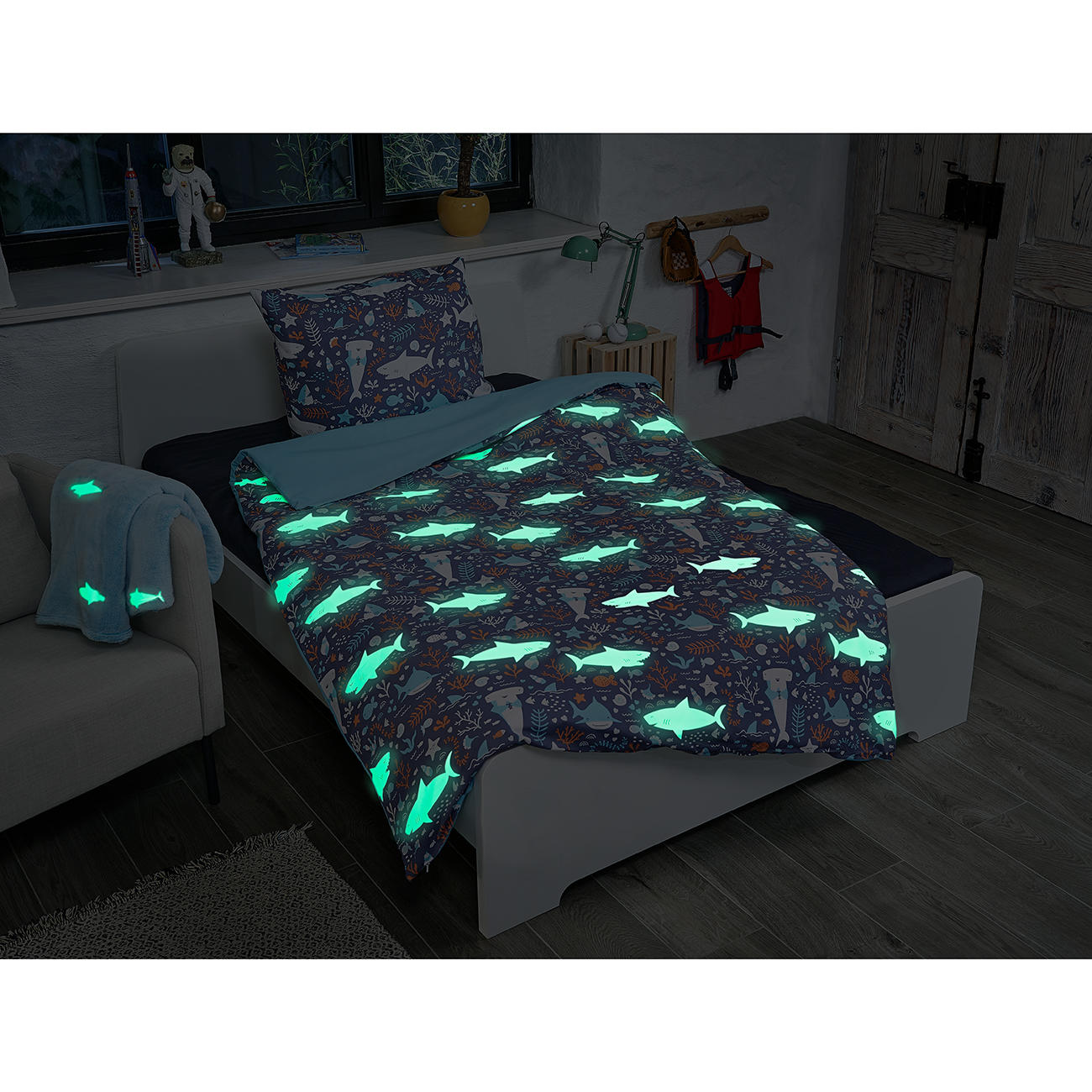 Mistral Home Glow In The Dark Bettwäsche Mit Leuchteffekt Hai Motiv 135 X 200 Cm