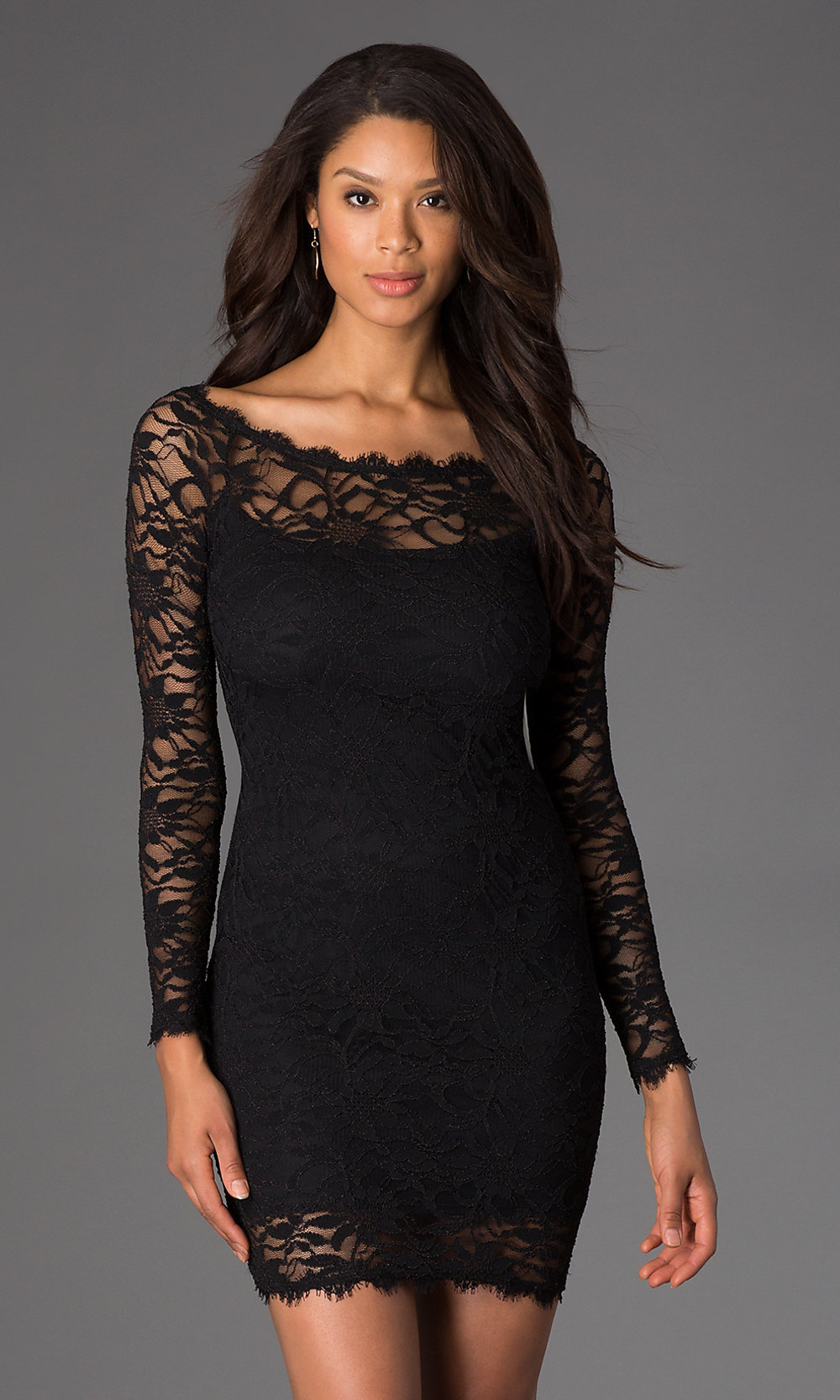 Hover to zoom image of short black lace long sleeve dress