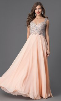 Long Sleeveless V-Neck Prom Dress - PromGirl