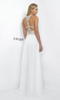 Long White Beaded Prom Dress by Blush - PromGirl