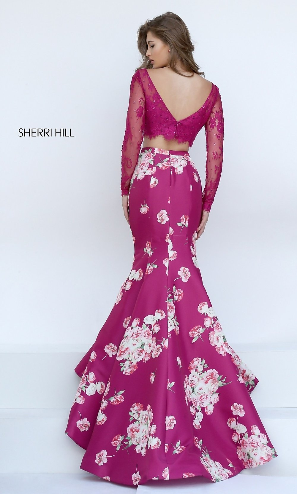 Encouraging Lace Two Piece Long Prom Floral Prom Dresses Under 100 Floral Prom Dresses Under 200 Hover To Zoom Floral wedding dress Floral Prom Dresses