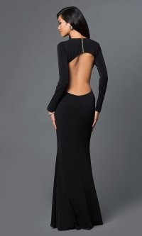 Side Cut Out Open Back Long Prom Dress - PromGirl