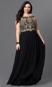 Plus-Size Long Prom Dress with Embroidery - PromGirl