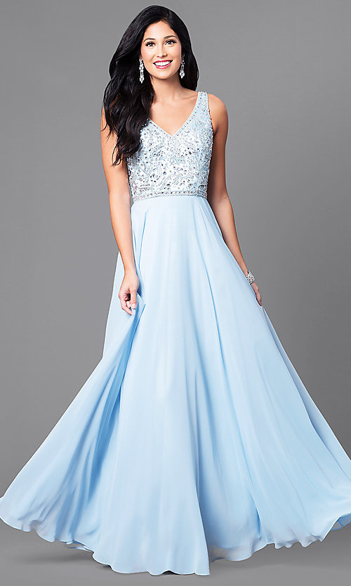 Princess Girl Wallpaper Hd V Neck Chiffon Prom Dress With Beaded Bodice Promgirl