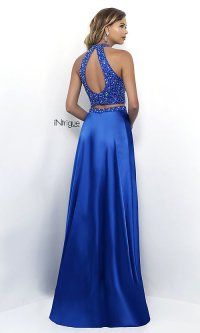 Long Two-Piece Sapphire Blue Prom Dress - PromGirl