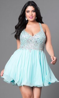 Royal Blue Plus-Size Short Prom Dress - PromGirl